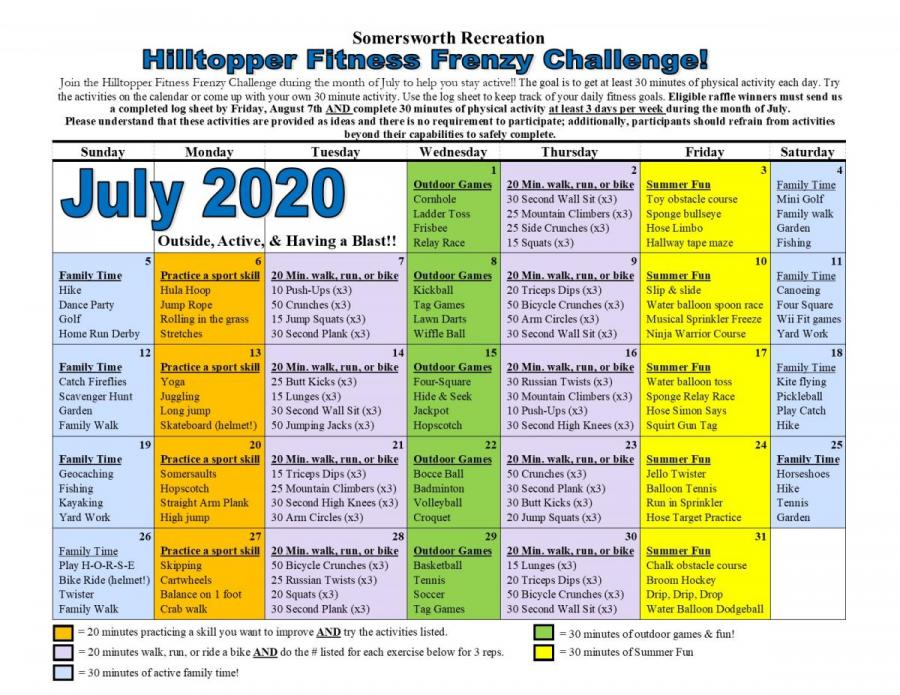 Hilltopper Fitness Frenzy Challenge Calendar