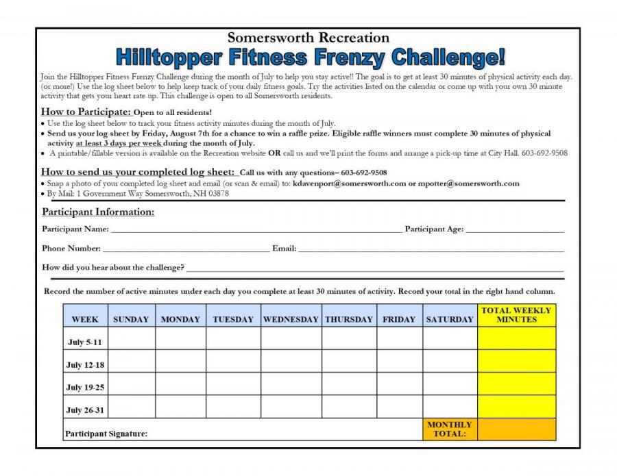 Hilltopper Fitness Frenzy Challenge log sheet